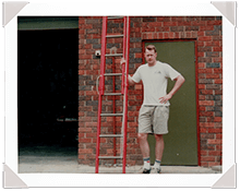 Mike Walsh with first fibreglass prototype ladder