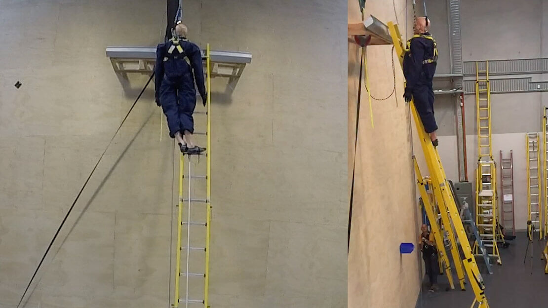 140kg freestanding fall arrest test for self-supporting ladder