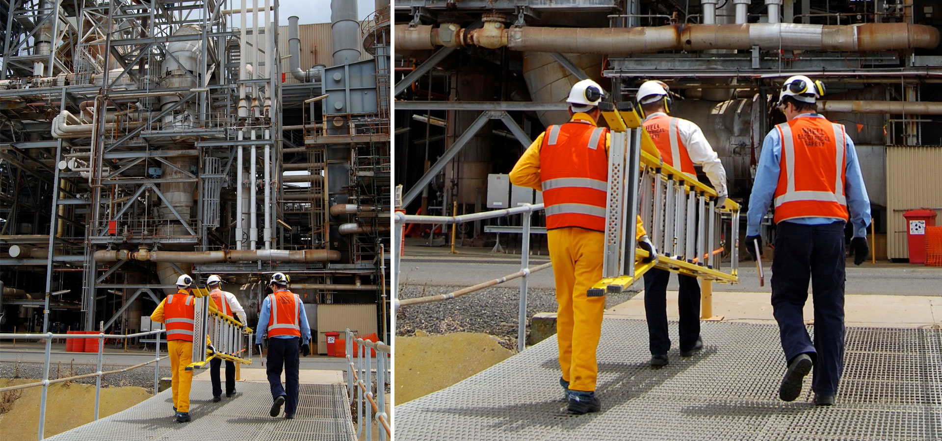 The Branach fibreglass CorrosionMaster 550mm Step Platform Ladder being carried through a Shell oil refinery.